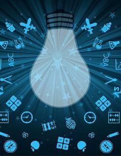 Lamp met kennis-icoontjes