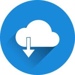 Een blauw rondje met een wolkje en een download teken er op