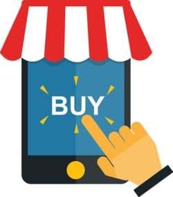 Een tablet met een hand die er uit ziet als een winkeltje
