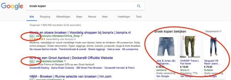 Advertenties van broek kopen op Google
