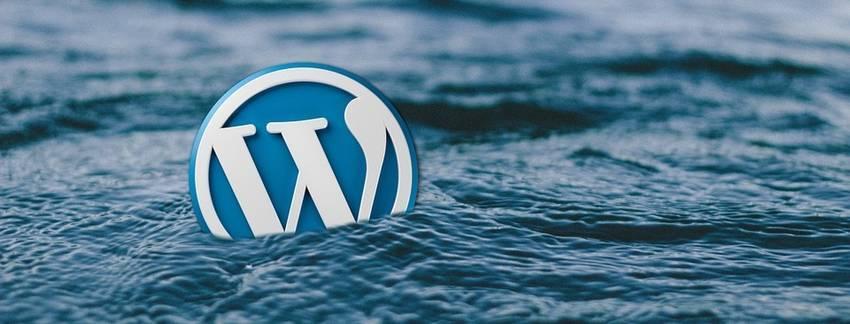 Het logo van Wordpress dat in het water drijft