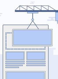 Een hijskraan die een onderdeel van een website verplaatst